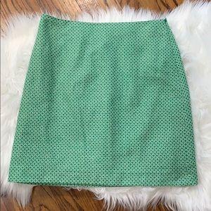 Boden British Wool Green Printed A-Line Skirt